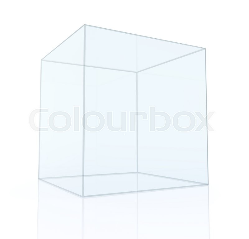 Stock image of 'Empty glass box isolated on white background, 3D rendering'