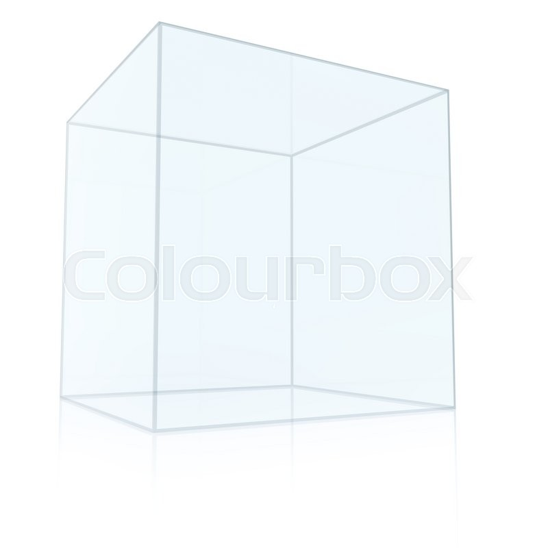 Stock image of 'Empty Transparent Glass Box Cube Isolated on White Background. 3D rendering'