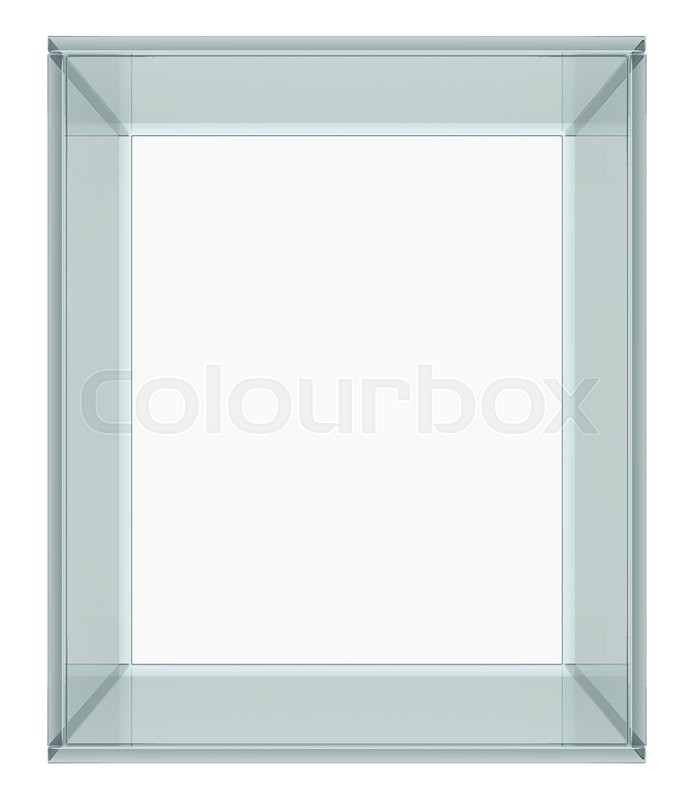 Stock image of 'Empty Glass Cube isolated on white background. 3D rendering'