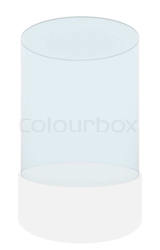 Stock image of 'Empty glass cylinder for exhibit isolated on white background, 3D rendering'