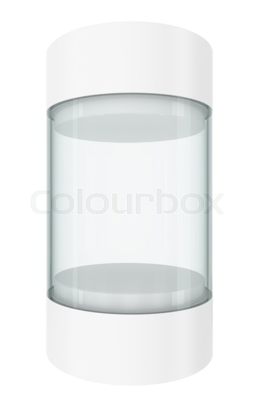 Stock image of 'Round white showcases with pedestal and top cap. 3D rendering'