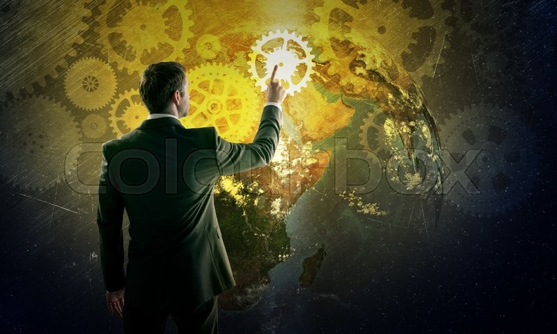 Stock image of 'Businessman in suit against digital background with icons, rear view. Elements of this image furnished by NASA'
