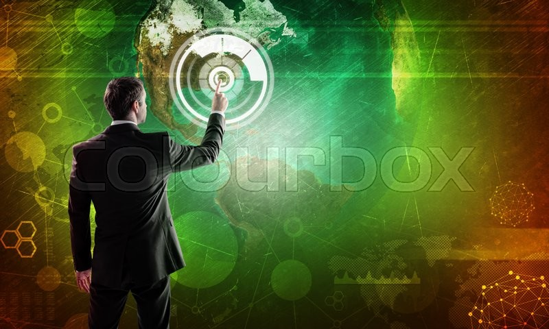 Stock image of 'Businessman in suit touching digital background with earh globe. Elements of this image furnished by NASA'