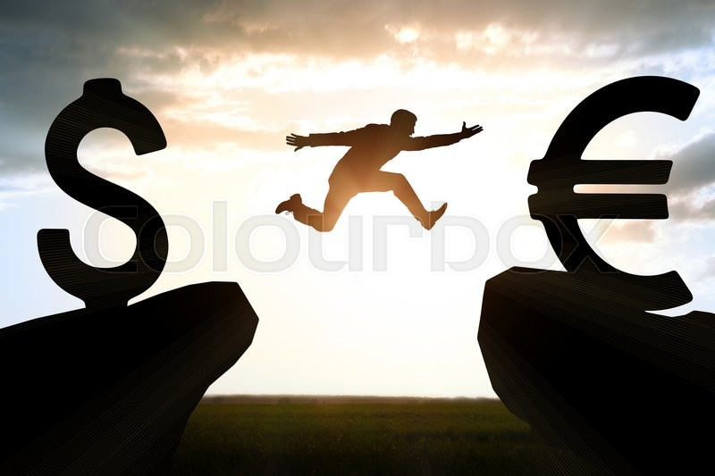 Stock image of 'Businessman hopping over abyss from dollar to euro'