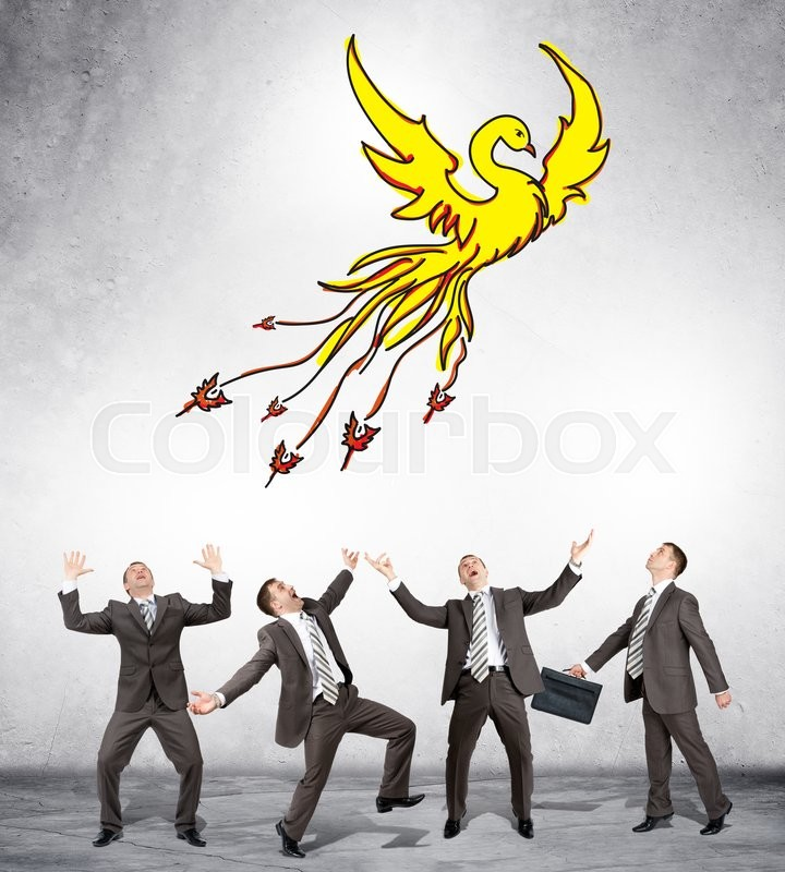 Stock image of 'Surprised businessmen looking at drawn firebird on grey background'