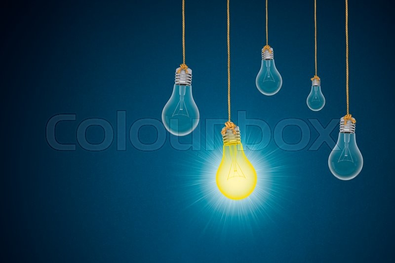 Stock image of 'Idea concept with light bulbs on blue background, 3d rendering'