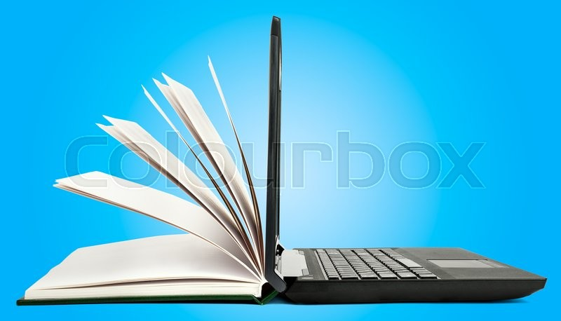 Stock image of 'Book and open laptop on blue background'