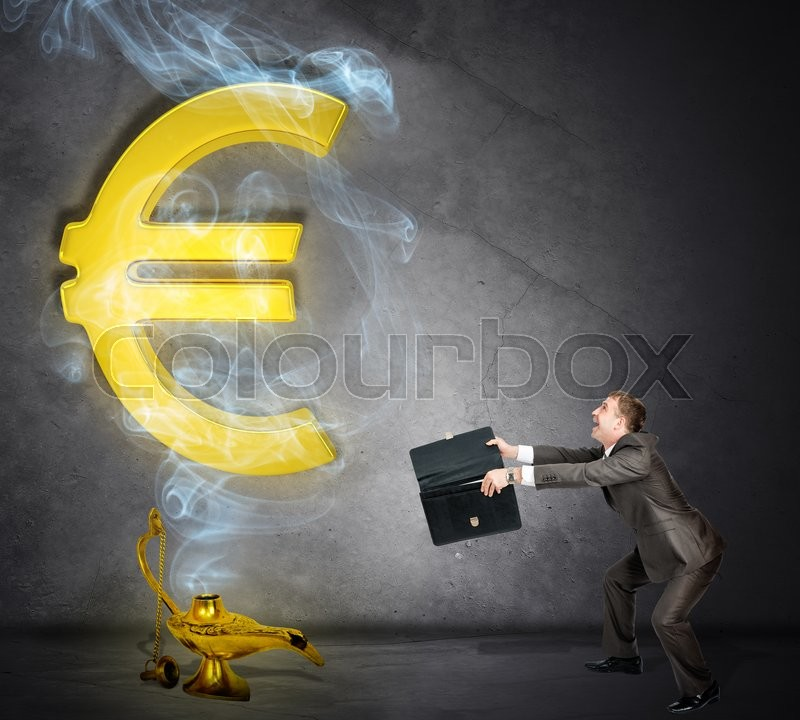 Stock image of 'Dollar sign appearing from magic lamp. Businessman with open suitcase'