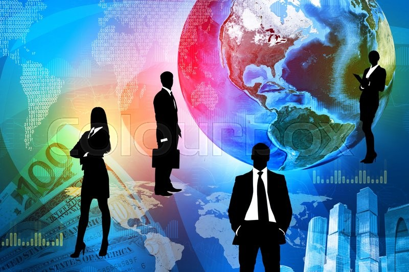 Stock image of 'Business people with earth and money. Elements of this image furnished by NASA'