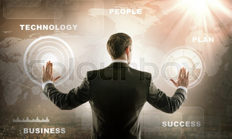 Stock image of 'Close up of businessman touching digital screen with hands'
