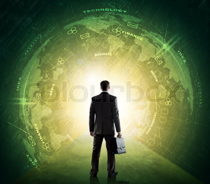 Stock image of 'Businessman in suit against digital background with earh globe. Elements of this image furnished by NASA'