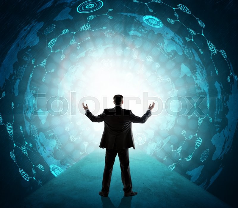 Stock image of 'Business person  with suitcase in front of digital screen with world map'