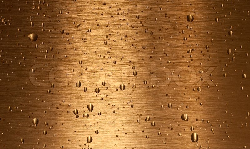 Bronze Texture With Water Drops On It Stock Photo
