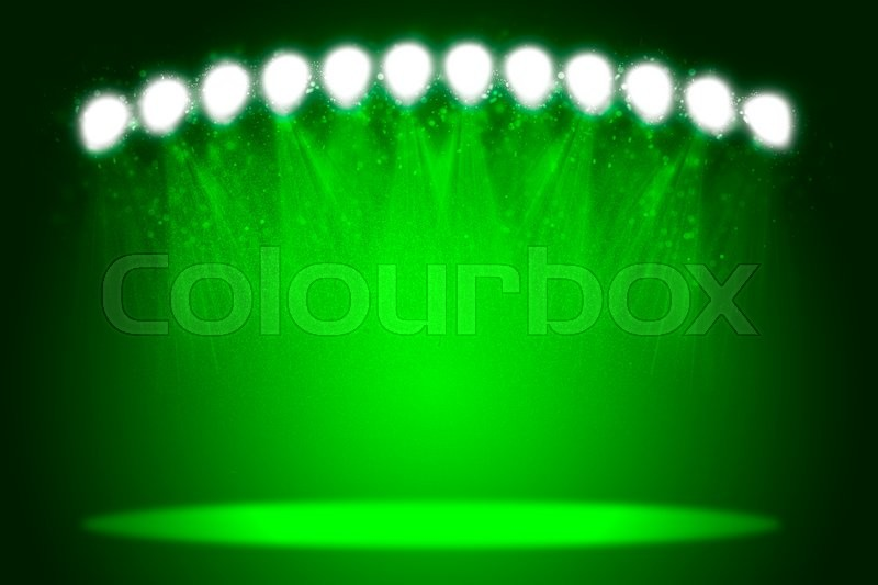 Stock image of 'Abstract green light background. Spotlight illumination floor. Exhibition template'
