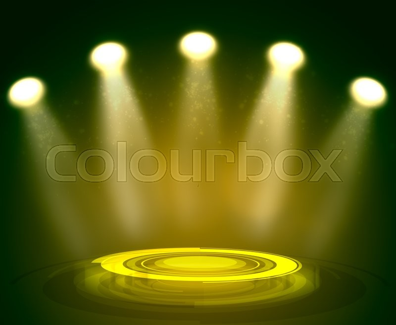 Stock image of 'Abstract light yellow background with technology podium and spotlights'