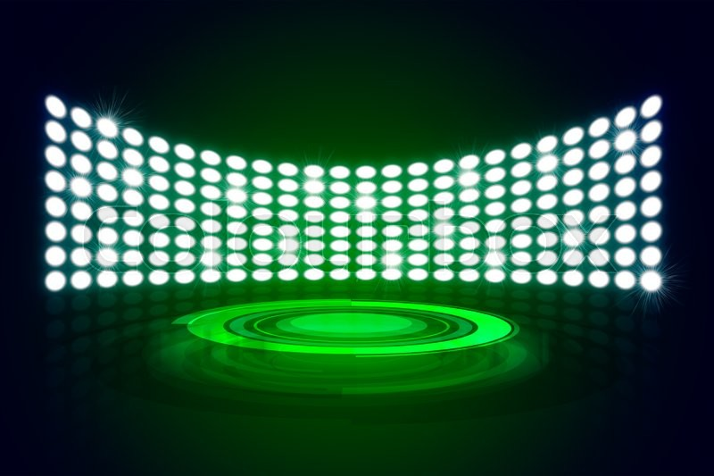 Stock image of 'Green Great Premiere Show Background. Stage podium shining with spotlights rays'