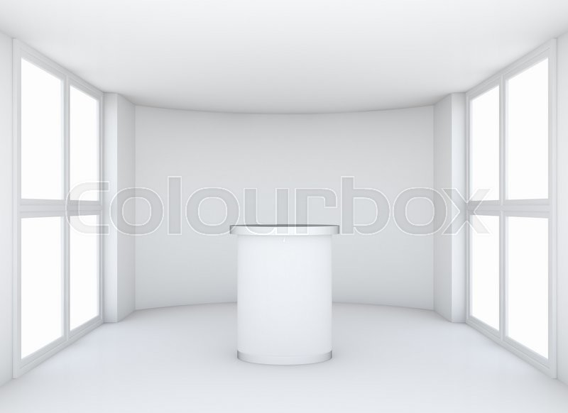Stock image of 'Exhibition room with tribune and windows, illuminated by skylights. 3D illustration'