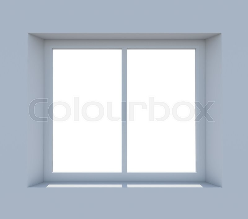 Stock image of 'Closed window frame on light blue background. 3D illustration'