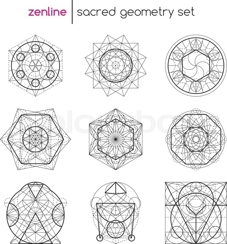abstract vector sacred geometrical figures spiritual geometry