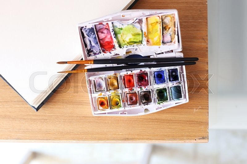 Stock image of 'Photo of  brushes on watercolors'