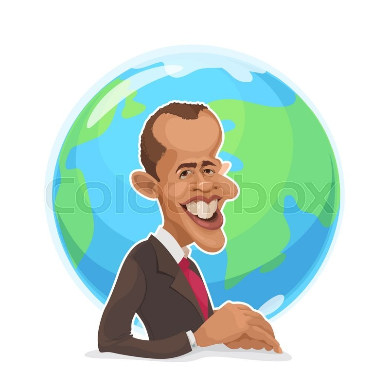 Editorial image of 'April 11, 2006: vector illustration of a cartoon portrait of the president of the United States Barack Obama against the backdrop of the planet earth'