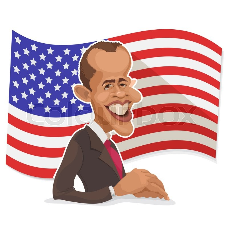 Editorial image of 'April 11, 2006: vector illustration of a cartoon portrait of the president of the United States Barack Obama against the backdrop of America flag'