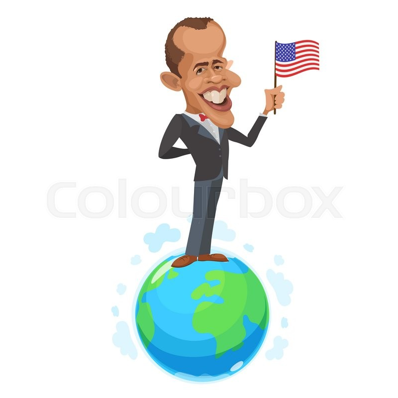 Editorial image of 'April 11, 2006: vector illustration of a cartoon portrait of the president of the United States Barack Obama is on the globe and holding the flag of America'