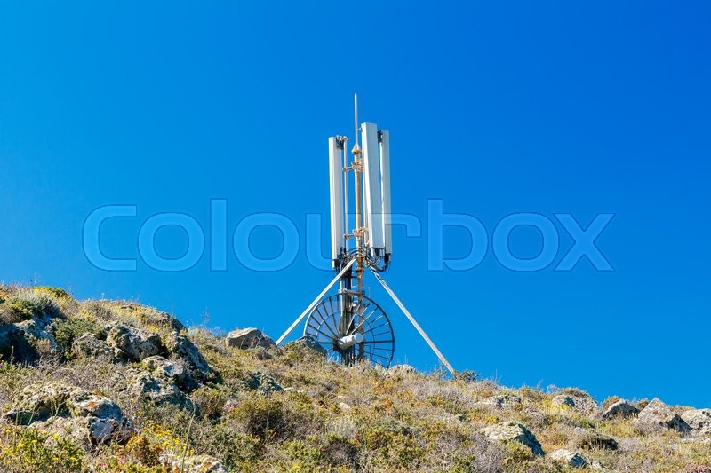 Stock image of 'Panel Antenna mobile communication against  blue sky. Plate telecommunications antenna. Cellular communication .'