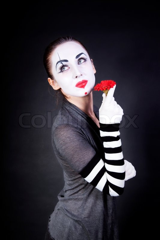 Frau Pantomime Mit Theatralischen Make Up Stockfoto Colourbox