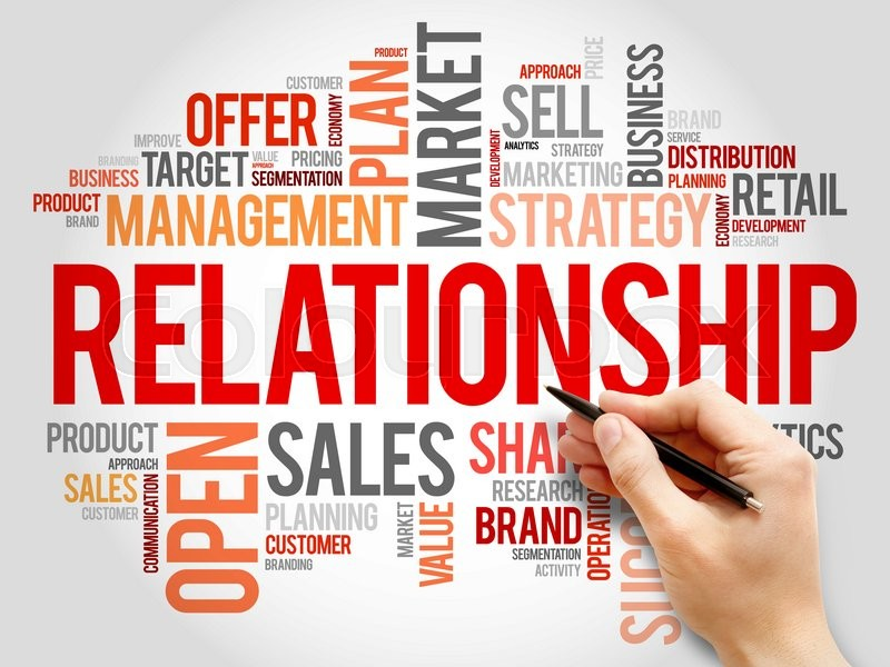 Stock image of 'Relationship word cloud, business concept'