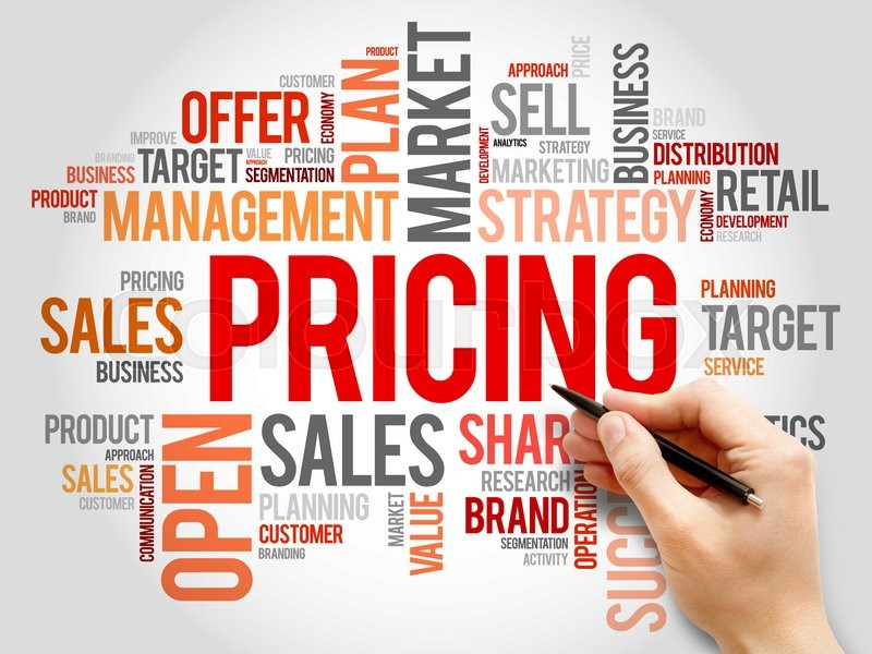 Stock image of 'Pricing word cloud, business concept'