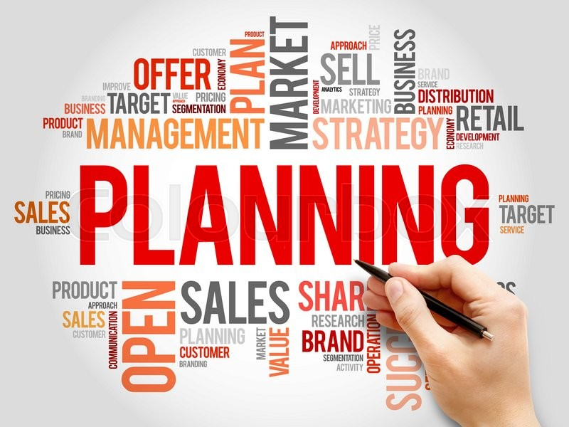 Stock image of 'Planning word cloud, business concept background'