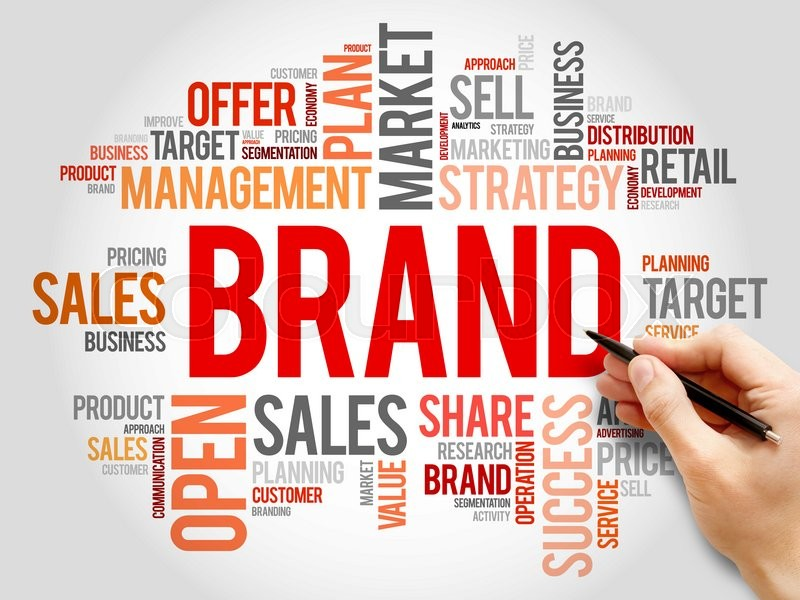 Stock image of 'Brand word cloud, business concept'