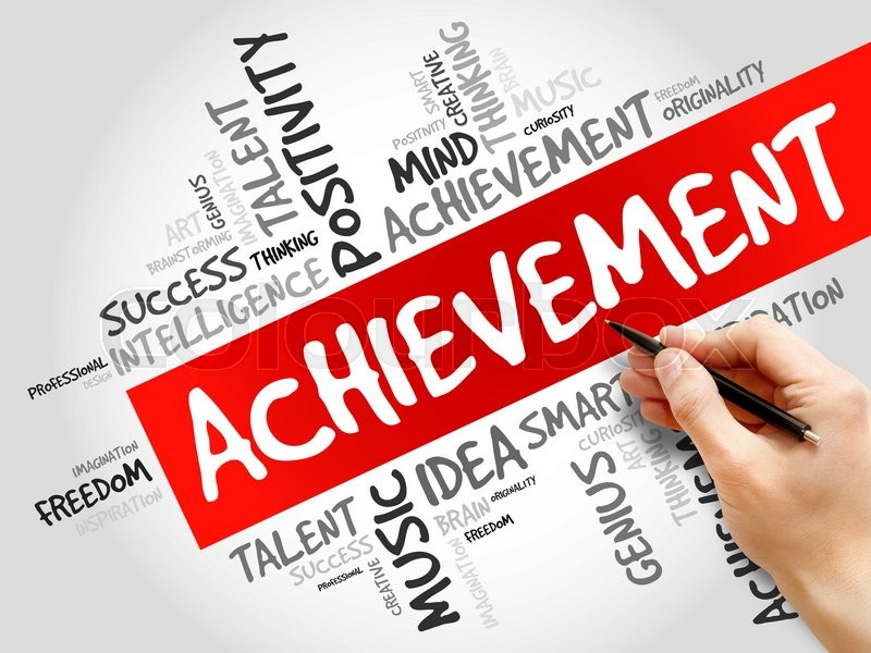 Stock image of 'Achievement word cloud, business concept'