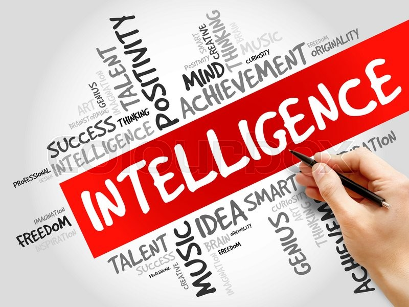 Stock image of 'Intelligence word cloud, business concept'