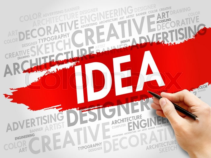 Stock image of 'IDEA word cloud, business concept'