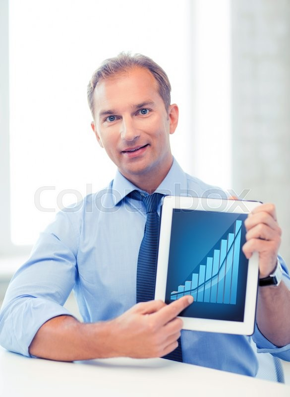 Stock image of 'business and technology concept - businessman showing tablet pc with graph'