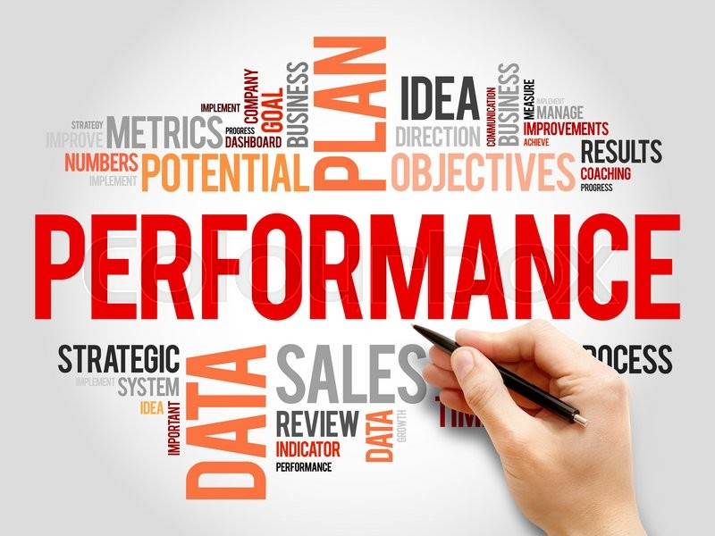 Stock image of 'Performance word cloud, business concept'