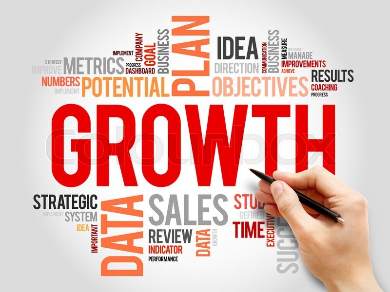 Stock image of 'Growth word cloud, business concept'