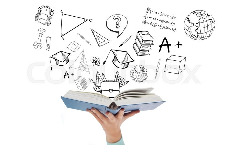 Stock image of 'education, school and learning concept - close up of woman hand holding open blue book with doodles'