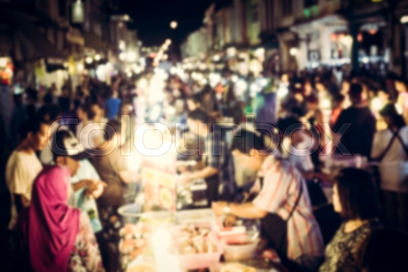 Festival event with blurred people on the street for background, stock photo