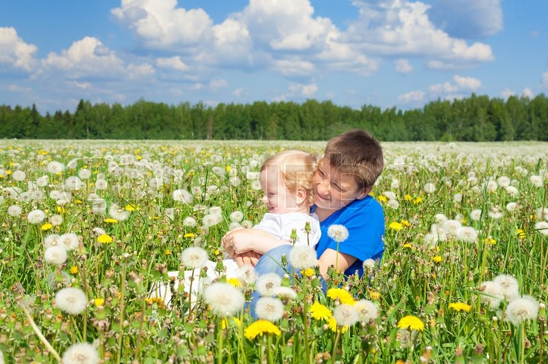 Stock image of 'two children boys play on a summer meadow'