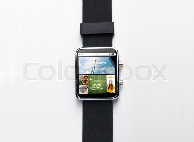 Editorial image of 'modern technology, object and media concept - close up of black smart watch with internet applications on screen'