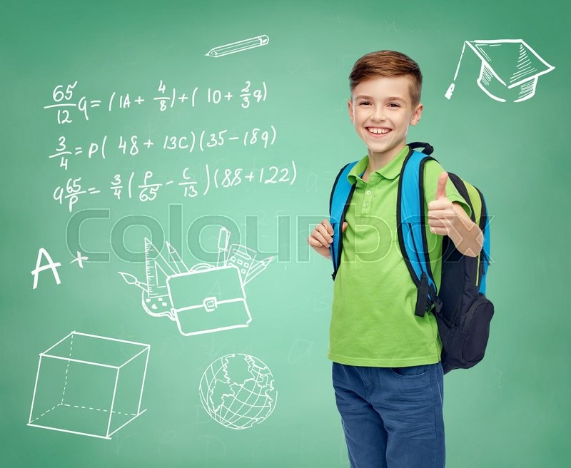 Stock image of 'childhood, education and people concept - happy smiling student boy with school bag over doodles on green chalk board background'