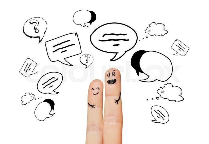 Stock image of 'communication, family, couple, people and body parts concept - close up of two fingers with different facial expressions and text clouds'
