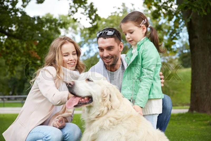 Stock image of 'family, pet, domestic animal and people concept - happy family with labrador retriever dog on walk in park'