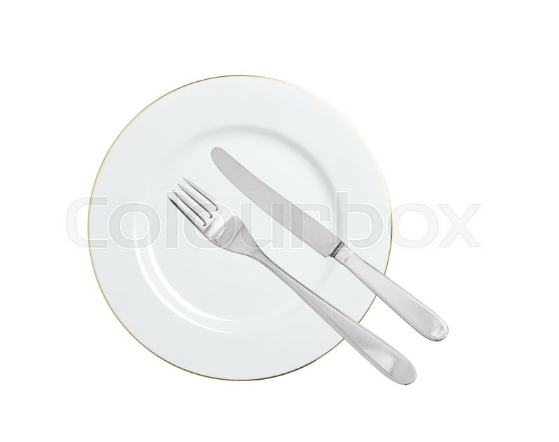 Stock image of 'White plate, fork and knife isolated on white background'