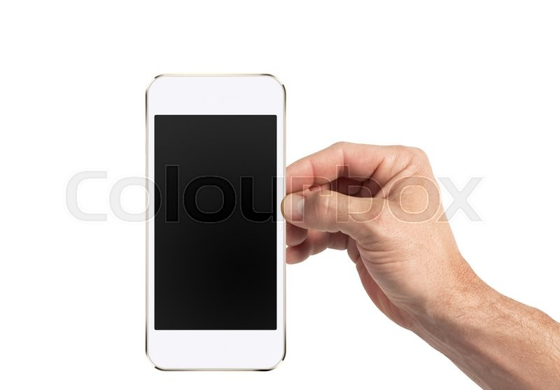 Editorial image of 'Isolated male hand holding a phone with white screen'