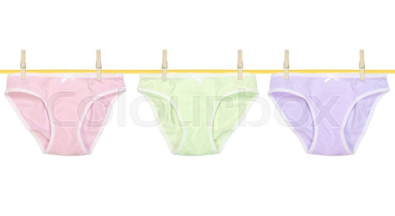 Stock image of 'Color underpants hanging isolated on a white'