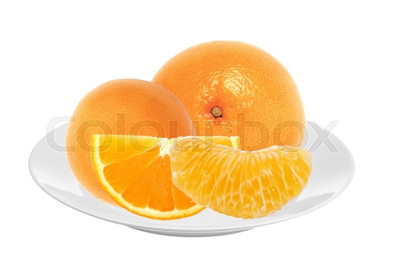 Stock image of 'Fresh juicy oranges on white plate isolated'